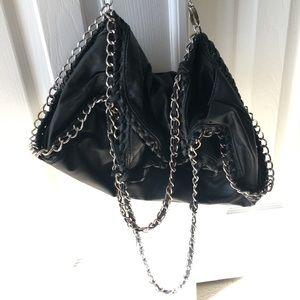 Handbags - Chain strap Pom Pom fold over laptop purse black